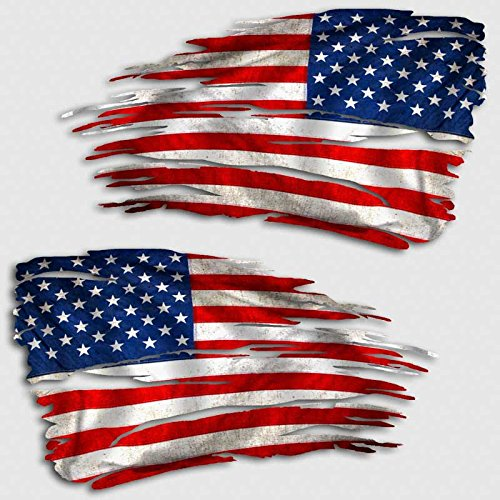 American Flag Tattered Decal Set USA Distressed Sticker ()