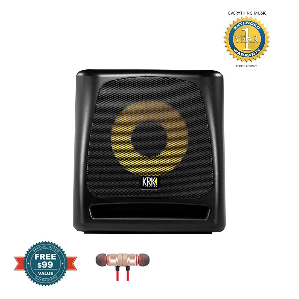 KRK 10S2 V2 10'' 160 Watt Powered Studio Subwoofer includes Free Wireless Earbuds - Stereo Bluetooth In-ear and 1 Year EverythingMusc Extended Warranty