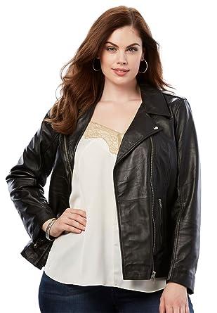 cdafdae3ac2992 Roamans Women s Plus Size Leather Moto Jacket at Amazon Women s ...