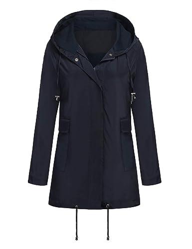Yhlovg Women's Lightweight Waterproof Raincoat Hood Long Outdoor Hiking Rain Jacket