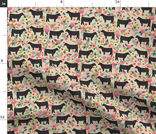Spoonflower Show Steer Fabric - Country Farmhouse Show Steer Steer Cow Farm Florals Floral Animals Pet Portrait Gift by Petfriendly Printed on Minky Fabric by The Yard