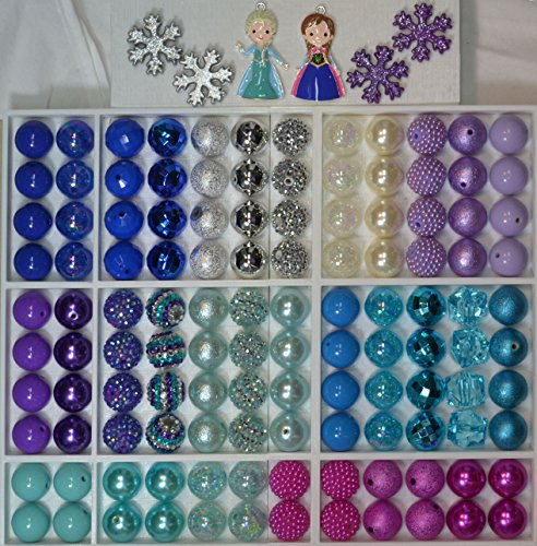 - Ice Princess Party Theme Bulk Mix of 20mm Bubblegum Beads in Pink, Purple, Turquoise, Blue with 2 Pendant
