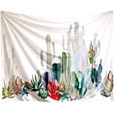 """Cactus Wall Hanging Tapestry Decor, Pawaca 60"""" X 80"""" Polyester Fabric Floral Wallpaper Home Decorations For Bedroom, Living Room, Dorm"""