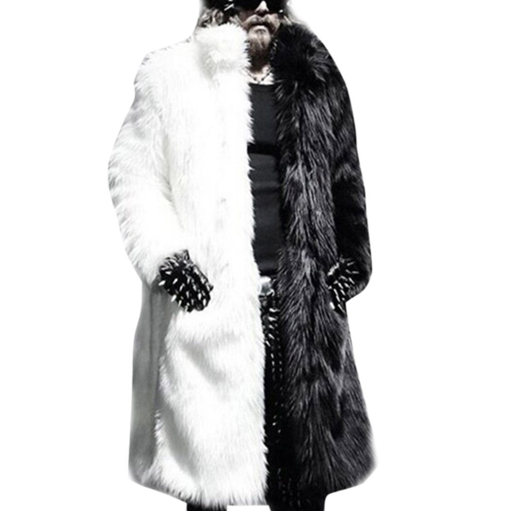 Raylans Mens Faux Fur Overcoat Winter Long Furry Outwear Parka Coat Black and White US 2XL(Asia 3XL)