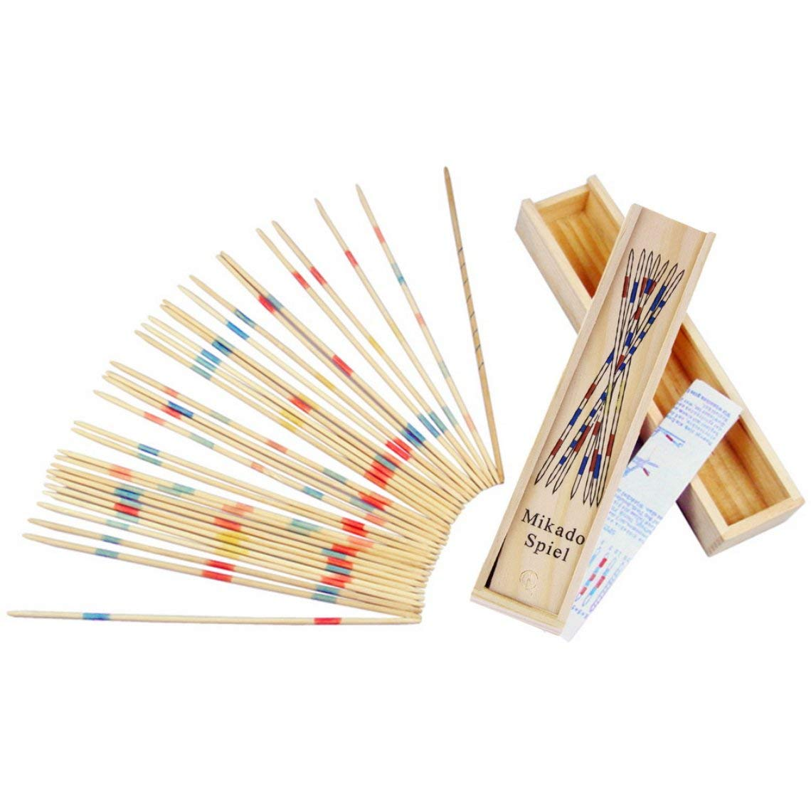 Zinniaya Baby Educational Wooden Traditional Mikado Spiel Pick Up Sticks Tool With Box Game Developing Math Ability