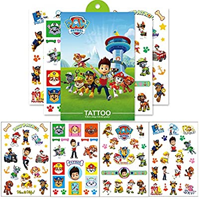 PAW Dog Patrol Party Tattoos Supplies Favors, 8 Sheets Temporary Tattoos Skin Stickers Kit Decoration, PAW Dog Patrol Birthday Decorations for Boys Girls Kids School Supplies Party Supply (8 Sheets): Toys & Games