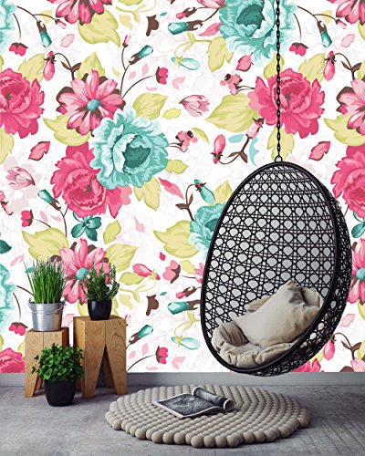 Removable Wallpaper Mural Peel & Stick Seamless Pattern with Floral Background (26W X 52H (Floral Wallpaper Patterns)
