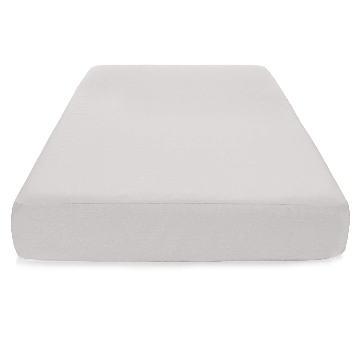 Baby Cot Mattress Waterproof Anti-Allergenic and miteproof Breathable Very Comfortable with Free Zip Cove and Fitted Sheet 95X65-7.5, White