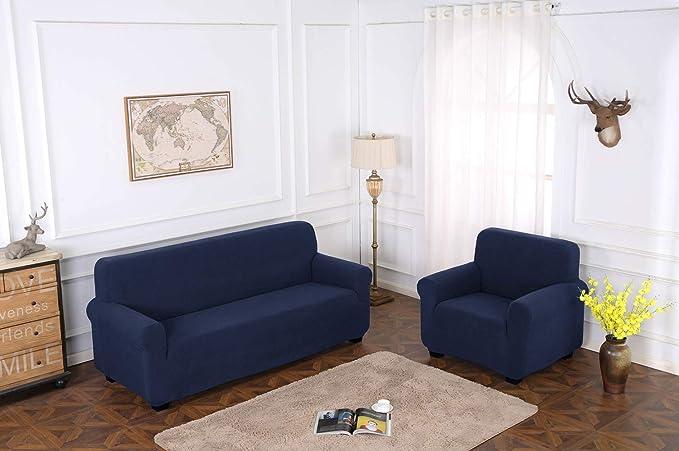 TIANSHU Funda de sillón,Material Jacquard poliéster y Elastano Fundas de sofá Suaves Resistentes(Funda de sillón,Azul Oscuro)
