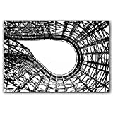 Knoebels Twister wooden roller coaster track photo in abstract black and white, original photograph printed on aluminum, ready to hang.