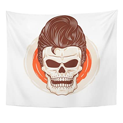 Emvency 50x60 Inch Tapestry Mandala Home Decor Rockabilly Pompadour Skull  Head With Cool Hairstyle Hair Horror