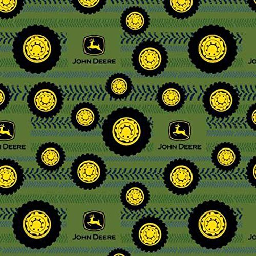 1/2 Yard - John Deere Tires on Tread Cotton Flannel - Officially Licensed (Great for Quilting, Sewing, Craft Projects, Throw Blankets & More) 1/2 Yard X ()