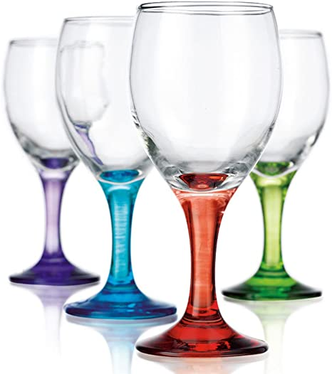 Amazon Com Carnival White Wine Glass Set Of 4 Colored Wine Glasses Wine Glasses