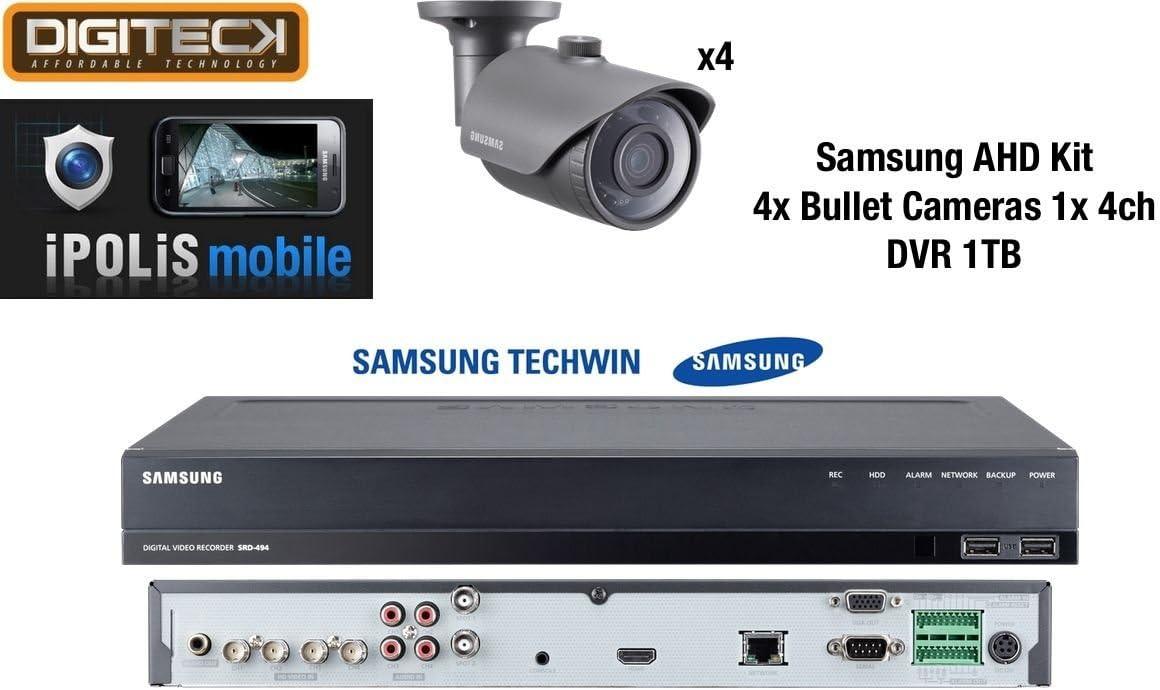 Samsung 4x Full HD 1080p al aire libre bala cámaras y 1x 4canales DVR 1TB–Kit de vigilancia de circuito cerrado de televisión analógica AHD