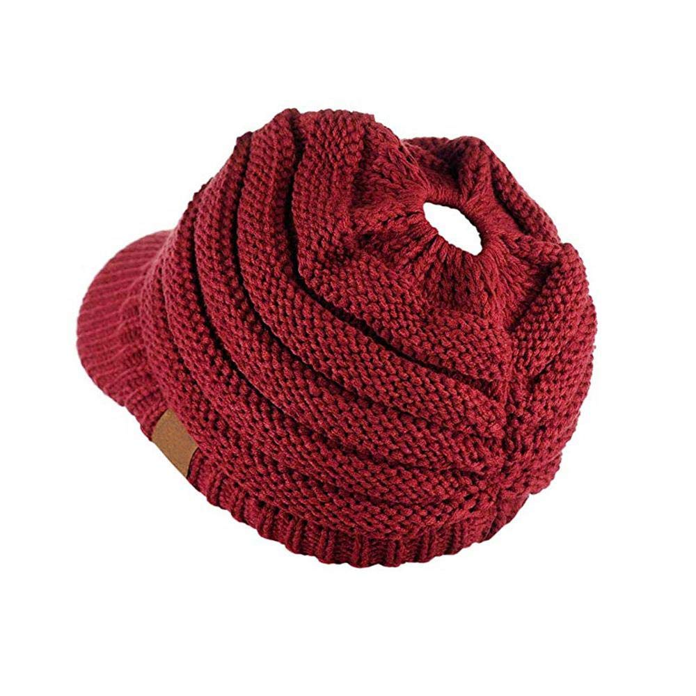 Ladies Soft Warm Stretch Chunky Knitted Messy Bun Beanie Hat with Ponytail Hole Autumn Winter Solid Color Ribbed Sports Ponytail Visor Beanie Cap for Women /& Girls KOBWA Brim Beanie Hat