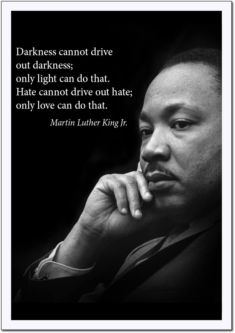 """Martin Luther King Jr. Poster famous inspirational quote LARGE high-QUALITY  banner""""Darkness Cannot Drive Out Darkness only light can do that"""" for"""