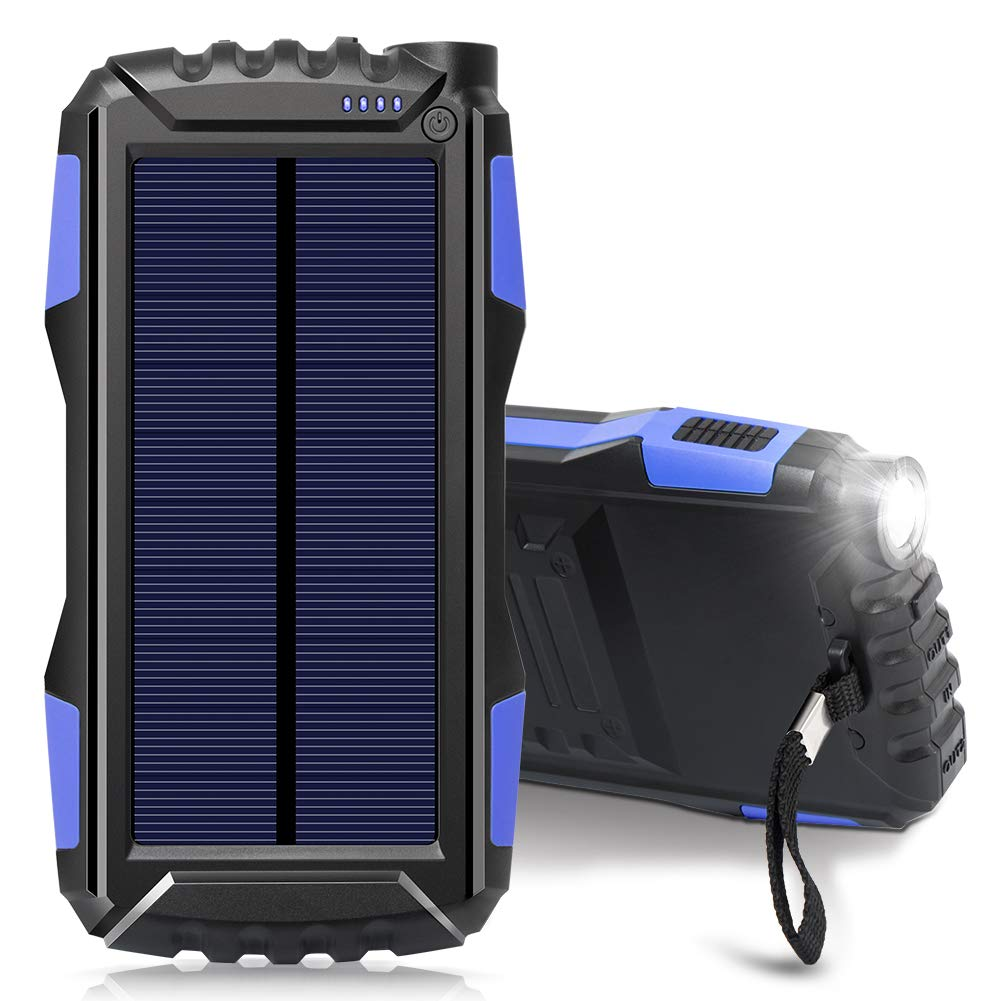 Solar Charger, Zonhood 25000mAh Power Bank Solar Phone Charger, Portable External Battery Pack with Dual USB Ports and LED Light Shockproof/Dustproof for Smartphones and More (N-Blue)