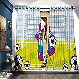 Best Home-X Butter Keepers - Room Darkening Wide Curtains Cute Hippopotamus Soccer Goal Review