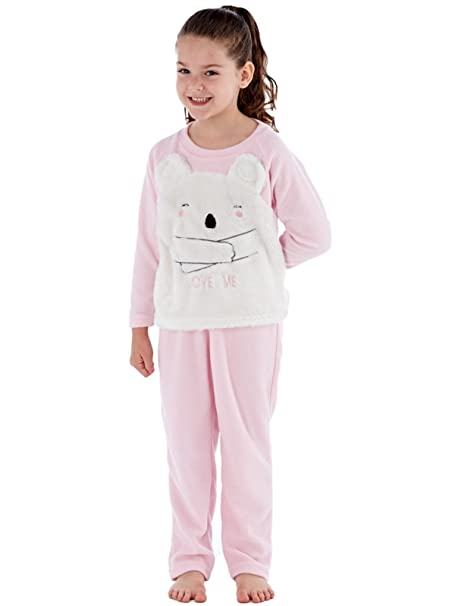 Younger Girls Cici Bear Love Me Fleece Pyjamas.