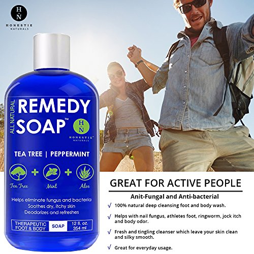 Remedy Soap, Wash Athlete's Ringworm, Itch, Yeast Infections Irritations. 100% Tea Tree Oil, Aloe