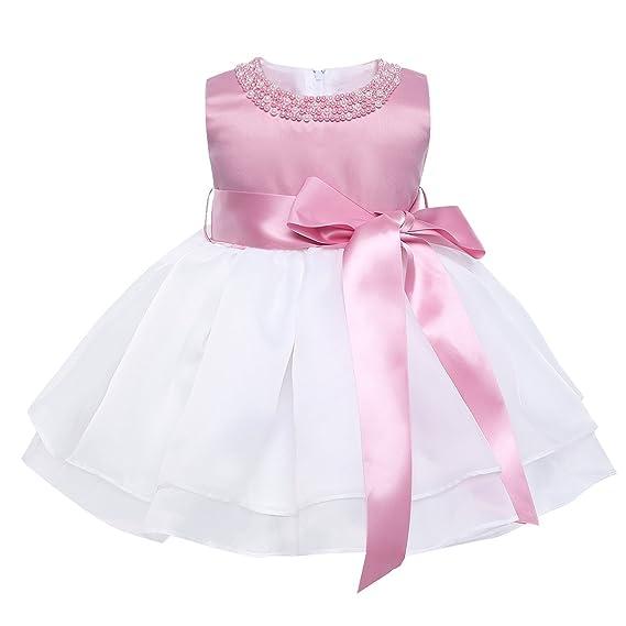 IEFIEL Vestido Blanco de Bautizo Boda Fiesta para Bebé Niña Vestido de Princesa Verano Traje para Recién Nacido Bebe Tutu con Perlas Organza 9 Meses - ...