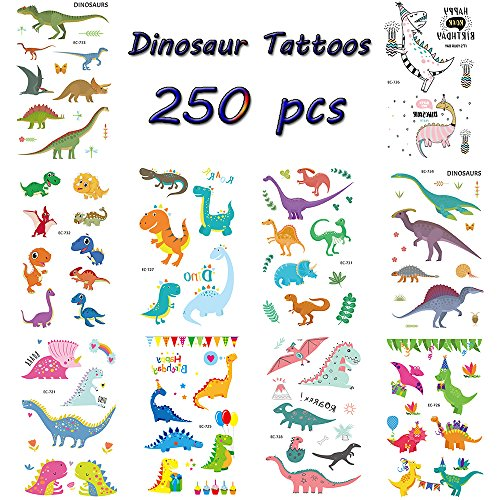 Zehhe Cool Dinosaur Temporary Tattoos for Kids - Pack of 20 Sheets(250 Tattoos) - Great Children Party Favors - Waterproof and Non Toxic