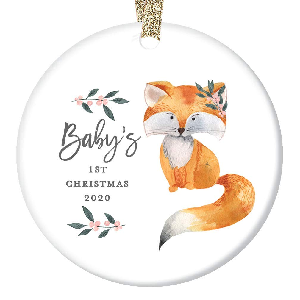 Cute Fox Baby Girl Ornament 2020 Newborn Daughters First Christmas 1st Holiday New Parents Mommy /& Daddy Adorable Baby Shower Ceramic Keepsake Present 3 Flat Porcelain with Gold Ribbon /& Free Box