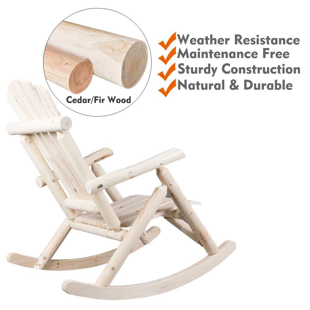 kdgarden Cedar//Fir Log Adirondack Rocking Chair Outdoor Wooden Porch Single Rocker for Garden Balcony Patio Backyard 250 LB Weight Capacity Natural Finish