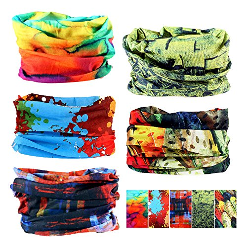 Oureamod Wide Headbands for Men and Women Athletic Moisture Wicking Headwear for Sports,Workout,Yoga Multi Function (Bright Pattern)