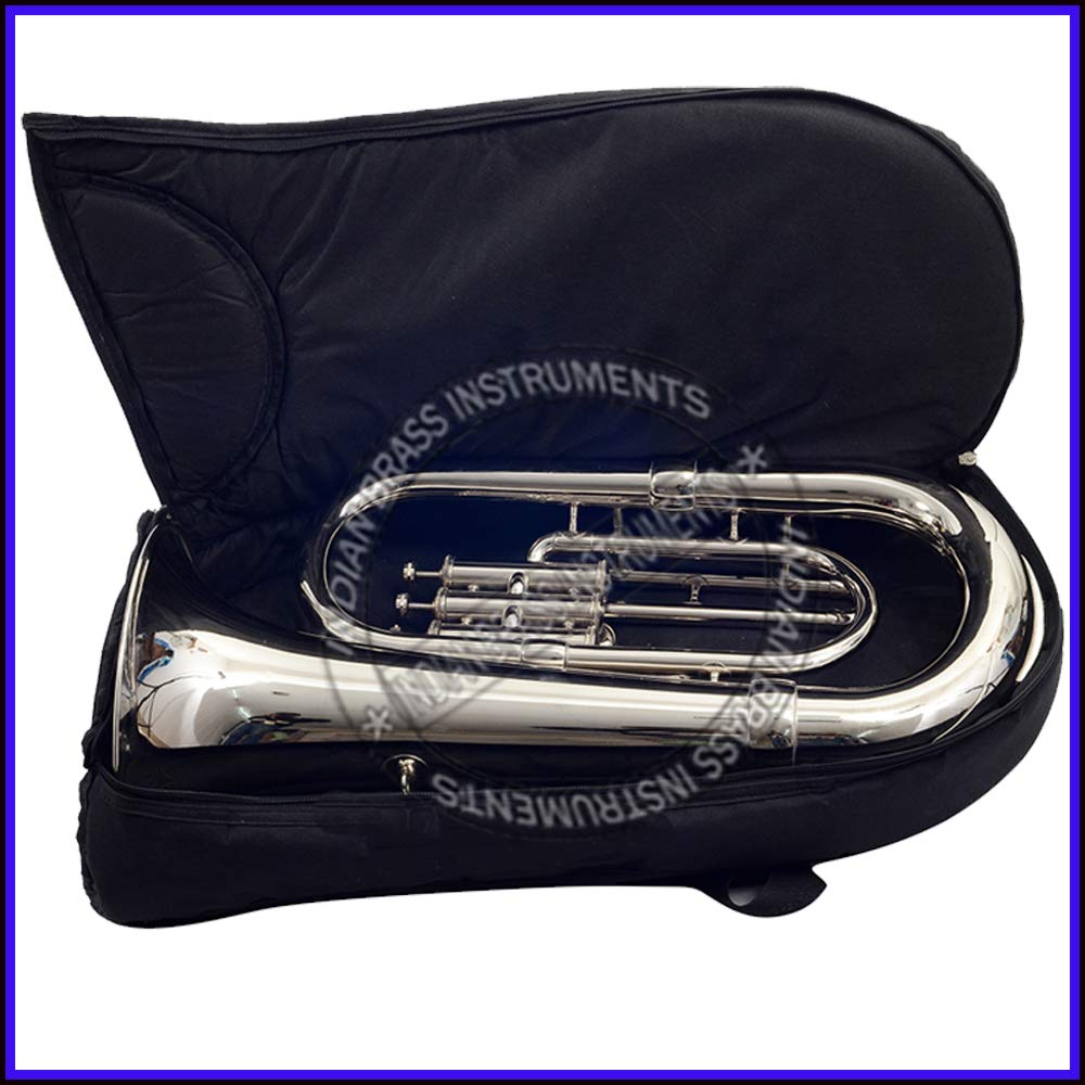 NASIR ALI NEW STUDENT MODEL EUPHONIUM FULL NICKEL LACQUER Bb PITCH WITH FREE CARRY BAG + MOUTH PIECE