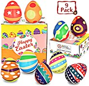 Dynoson 9 Pack 3.2″ Squishy Easter Hunt Egg Toys,Stress Relief Super Soft Squeeze Squishy Kawaii Party Favor Novelty Gifts