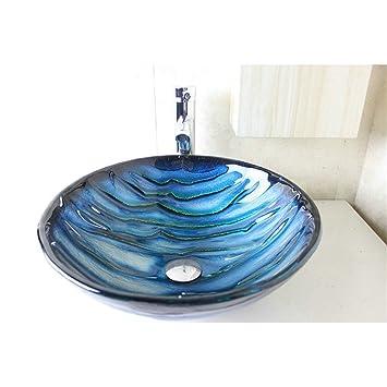 HomeLava Lavabo Vasque en Verre Trempé Bleu, à poser la salle de  bain,garantie de 2ans (Sans Robinet)