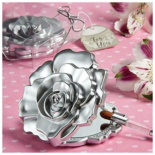 Fashioncraft, Wedding Party Bridal Shower Favors Gifts, Realistic Rose Design Mirror Compacts, Set of 60