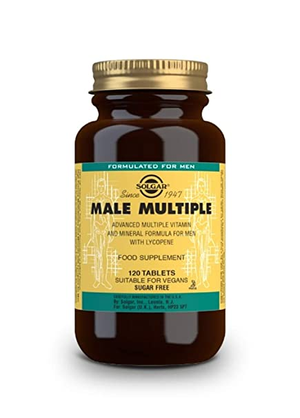Solgar® Male Múltiple, 120 Comprimidos - Multinutriente para el hombre. Con vitaminas, minerales y licopeno. Apto para veganos