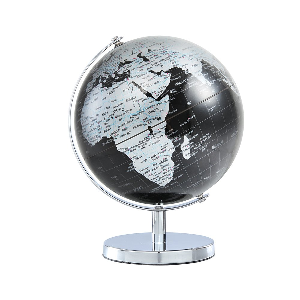 World Globe for Kids - 6 inch (14.2cm) Black Desktop Globe Educational World Geography Kids Learning Toy Gifts, Home Office Desk Decoration