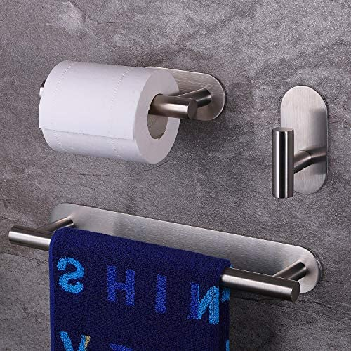 SUNTECH Self Adhesive Without Drilling - 12'' Hand Towel Bar + Toilet Paper Holder+ Robe Towel Hooks, 3 Pieces Bathroom Hardware Set SUS304 Stainless Steel