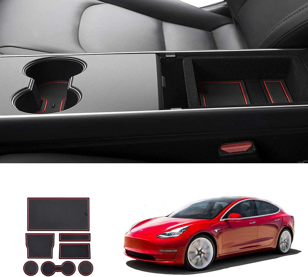 JKCOVER Door 7+6 Custom Fit Accessories Cup and Center Console Liner mat Compatible with Tesla Model 3 2017 2018 2019 2020 -pc Set Black