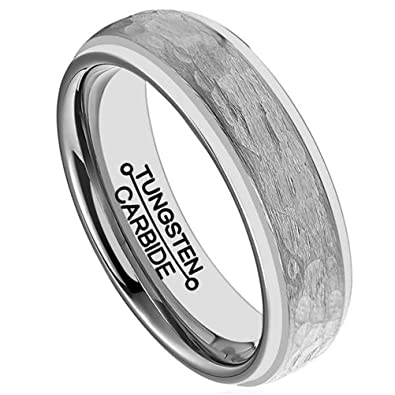 Mens 6mm Silver Tungsten Carbide Ring Handcrafted Hammered Grain