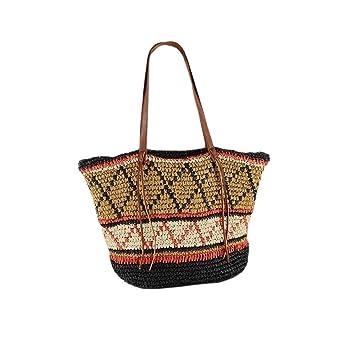 Navigatee Geometrische Muster Stroh Tasche Strandtasche Reisen