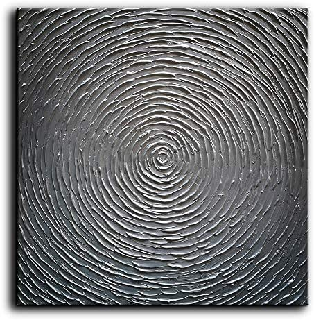 Tyed Art- 100 Hand-Painted Abstract Oil Painting On Canvas Silver Gray Texture Abstract Artwork Canvas Wall Art Paintings Modern Home Decor Abstract Oil Painting 24x24inch
