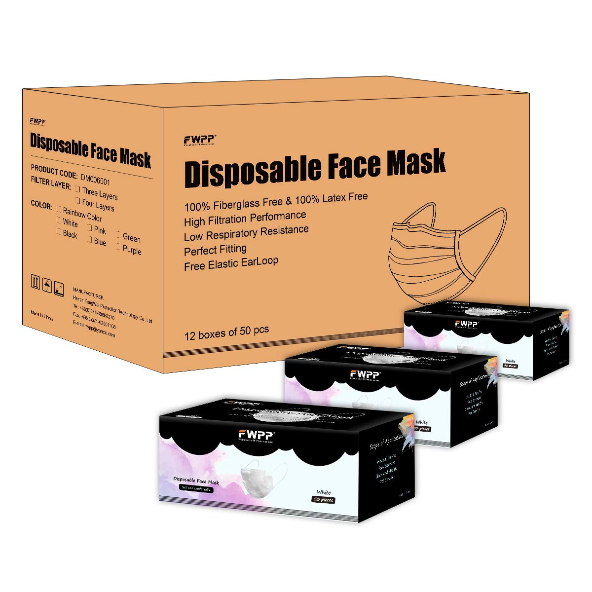 Case of 12 Packs Pearl White FWPP Earloop Disposable Face Masks Pack of 50 Pcs