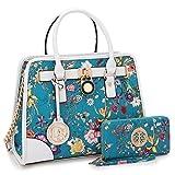 Medium Satchel 2 Pieces Purse Set Designer Handbag Top Handle Shoulder Bag Padlock Blue Floral