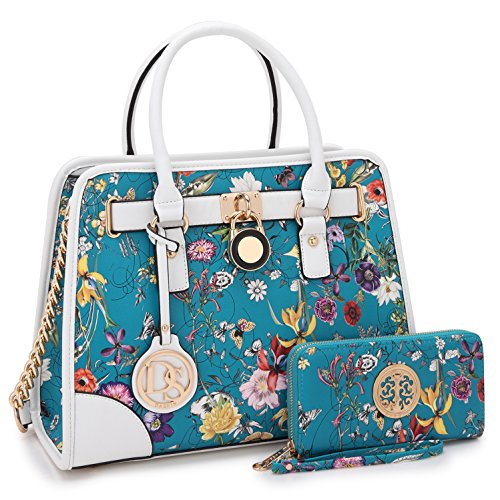 Medium Satchel 2 Pieces Purse Set Designer Handbag Top Handle Shoulder Bag Padlock Blue Floral by MKY