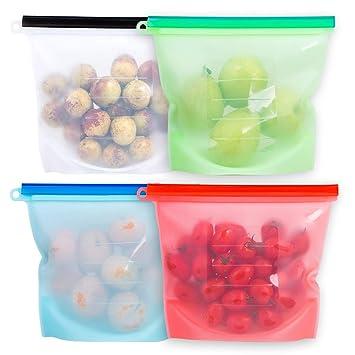 Amazon.com: Juego de 4 bolsas de silicona reutilizables para ...
