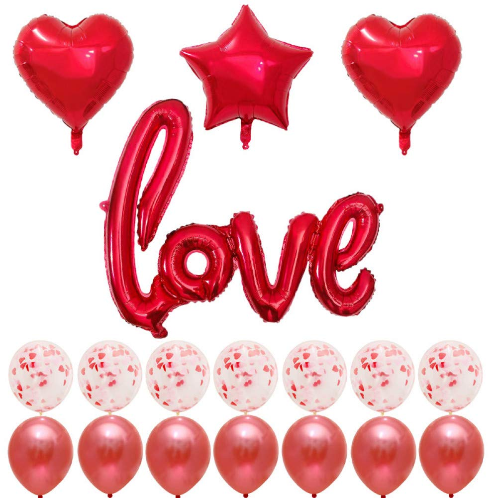 HLPDLQ Banner 18 Piezas Globos de Carta de Amor Rojo Dorado ...
