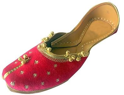 Step n Style Schritt N Style Damen pink Khussa Schuhe Panjabi Ghungroo jutti Ethnic mojari handgefertigt Ballerina Schuhe Casual Sandale, Pink - rose - Größe: 37.5