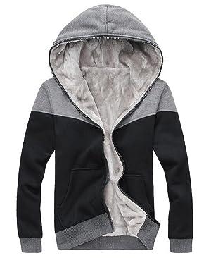 Binn Mens Color Block Full-Zip Faux-Fur Outwear Hooded Sweatshirt M Black