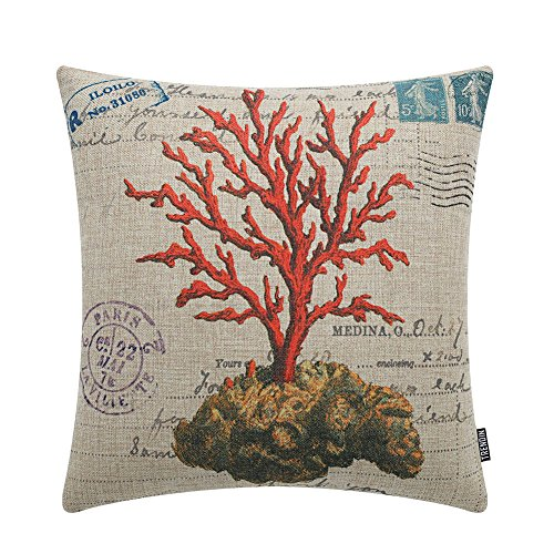 TRENDIN 18'' X 18'' Vintage Red Marine Coral Ocean Linen Cushion Cover Throw Pillow Case(PL136) by TRENDIN