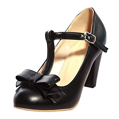 db1fd29db41 Coolulu Womens Rockabilly Shoes Block Heel Mary Jane Bow Pumps ...