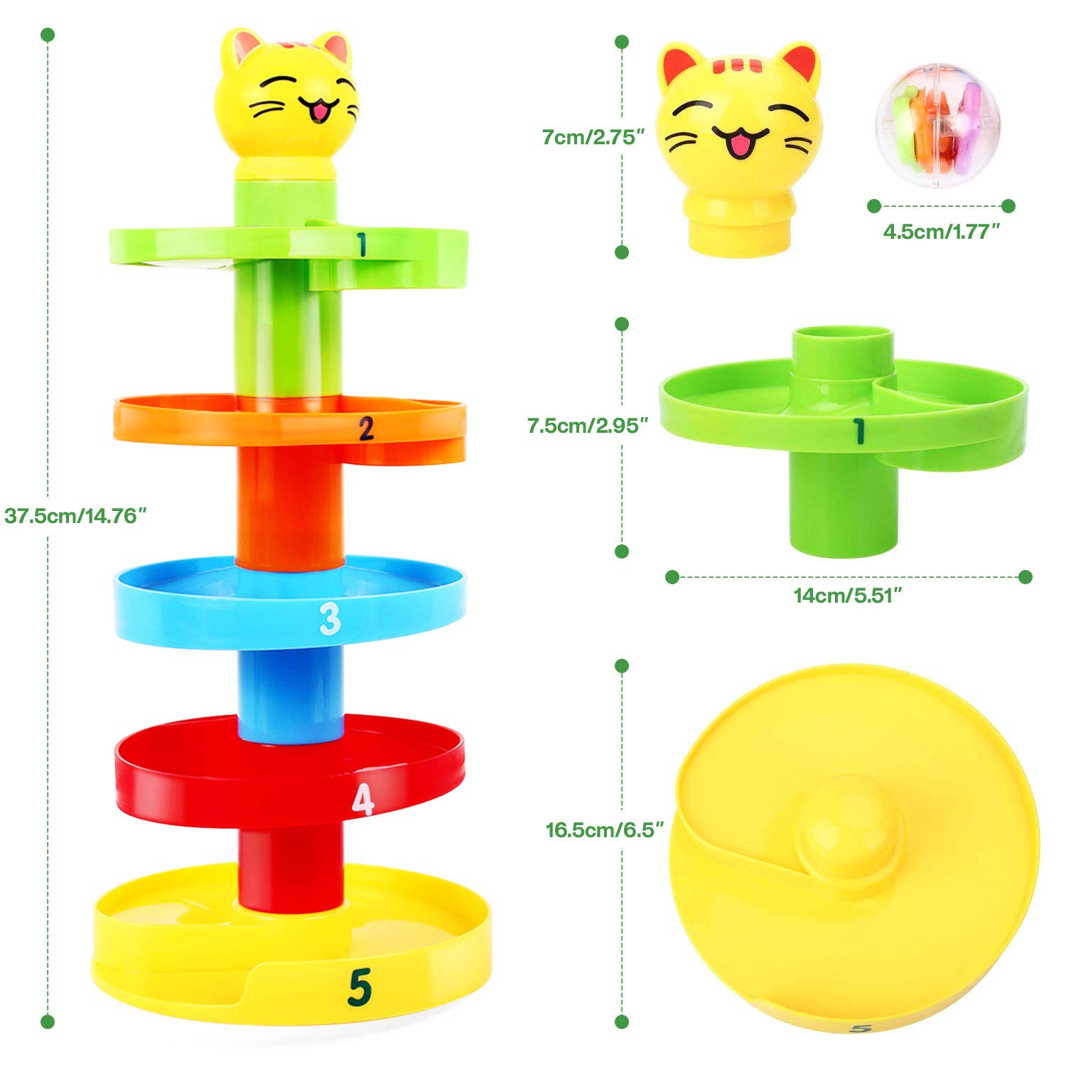 Peradix Swirl Ball Ramp Toddlers Ball Drop Toy Educational Puzzle Rolling Ball Bell Stacker for Kids Activity Center Games (Cat)